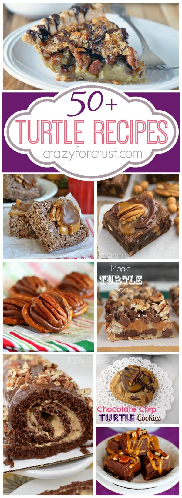 50 Turtle Recipes | www.crazyforcrust.com | It's a collection of caramel, pecans, and chocolate galore!