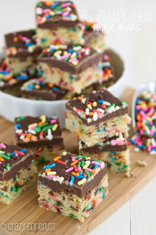 Funfetti Cookie Fudge Bars | crazyforcrust.com | The two best desserts in one: Funfetti cookies and fudge!