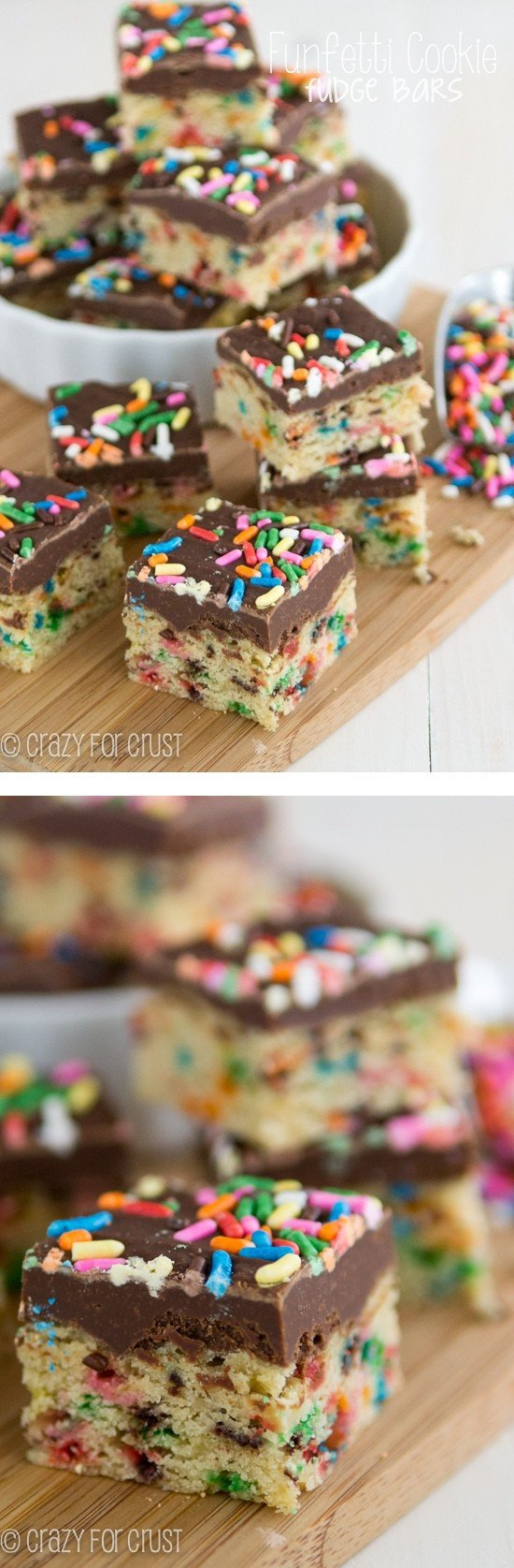 Funfetti Cookie Fudge Bars with rainbow sprinkles stacked on a wood cutting board