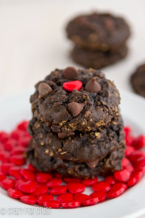 Heart Healthier Chocolate Oatmeal Cookies | crazyforcrust.com | With a few substitutions you can make your favorite cookies a little better for your heart!