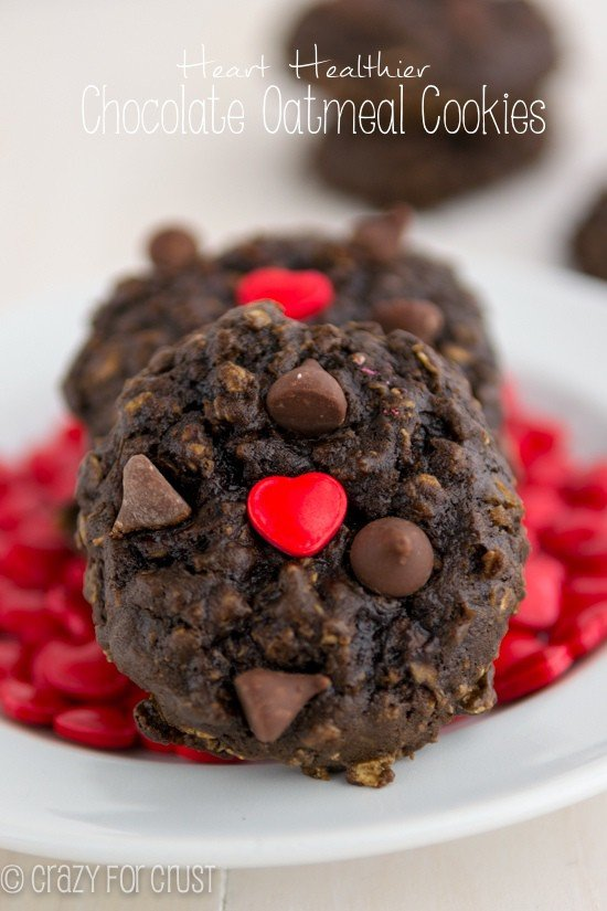 Heart Healthier Chocolate Oatmeal Cookies | www.crazyforcrust.com | With a few substitutions you can make your favorite cookies a little better for your heart!