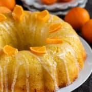 full orange pound cake on white plate