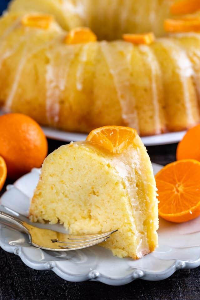 slice of orange pound cake