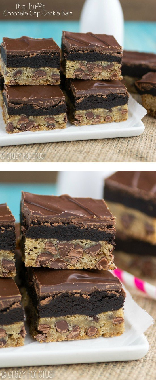Oreo Truffle Chocolate Chip Cookie Bars | www.crazyforcrust.com | The best combo ever! Chocolate Chip Cookies meet Oreo Truffles in this super delicious bar cookie!
