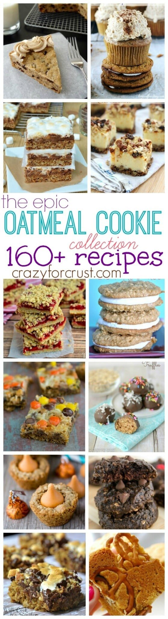 Photo collage showing oatmeal cookie recipes and a graphic that says Over 160 Oatmeal Cookie Recipes