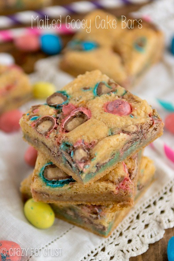 These Malted Gooey Cake Bars are so easy and will satisfy your Robin Egg and Ovaltine craving!