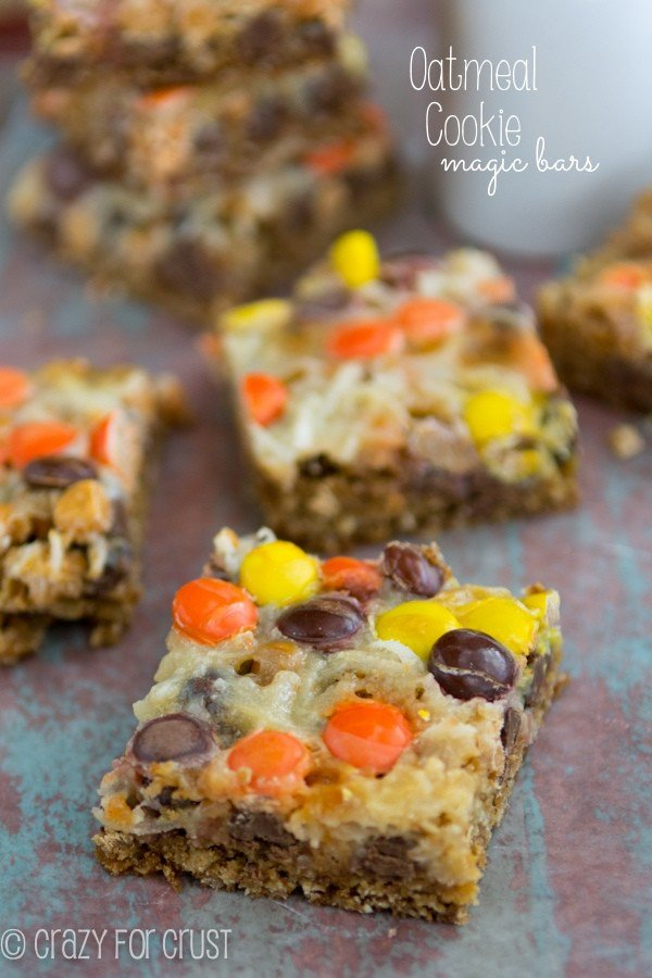 Oatmeal Cookie Magic Bars cut into squares and on table