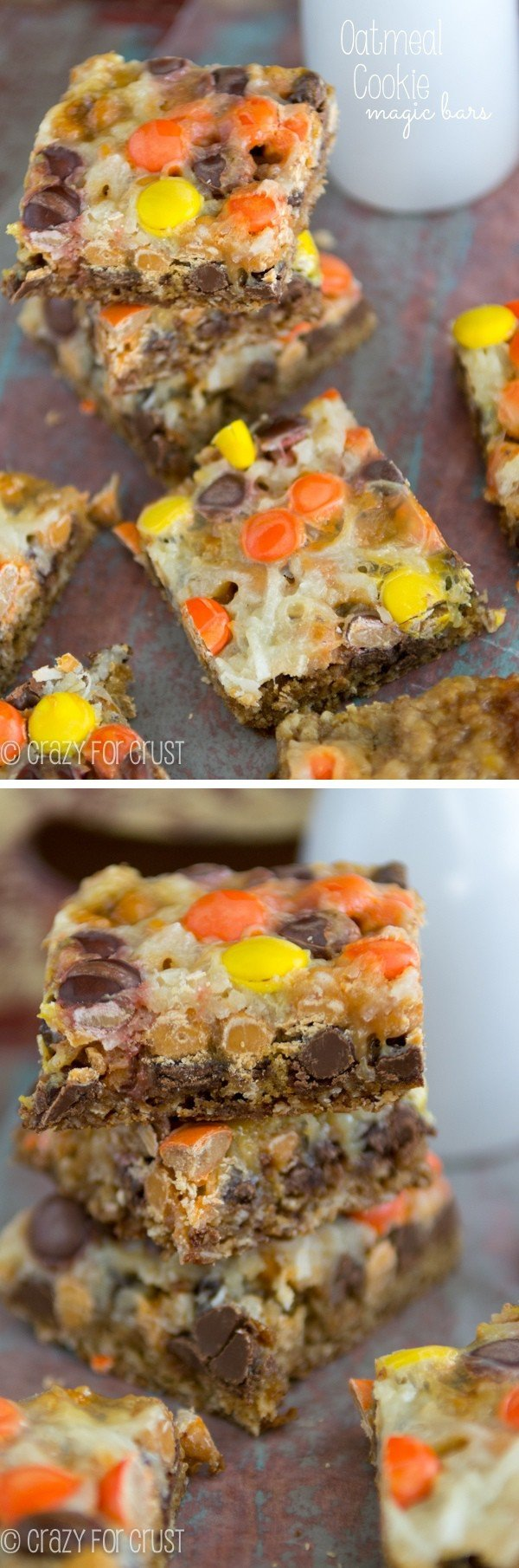 Oatmeal Cookie Magic Bars | crazyforcrust.com | Magic bars filled with the flavors of an Oatmeal Cookie!