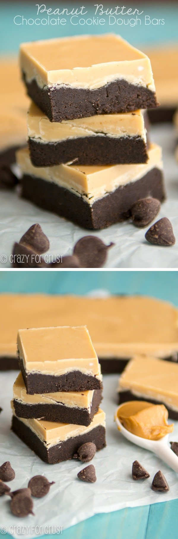 Peanut Butter Chocolate Cookie Dough Bars | crazyforcrust.com | Egg-less chocolate cookie dough pressed into a pan and topped with peanut butter!