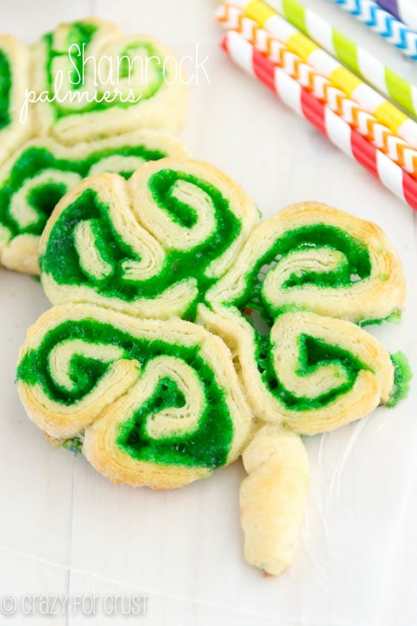 Shamrock Palmiers | crazyforcrust.com | A super easy treat for Sr. Patrick's Day using crescent rolls and colored sugars.