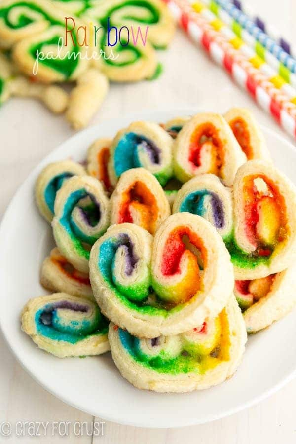 Rainbow Palmiers | crazyforcrust.com | A super easy treat for Sr. Patrick's Day using crescent rolls and colored sugars.