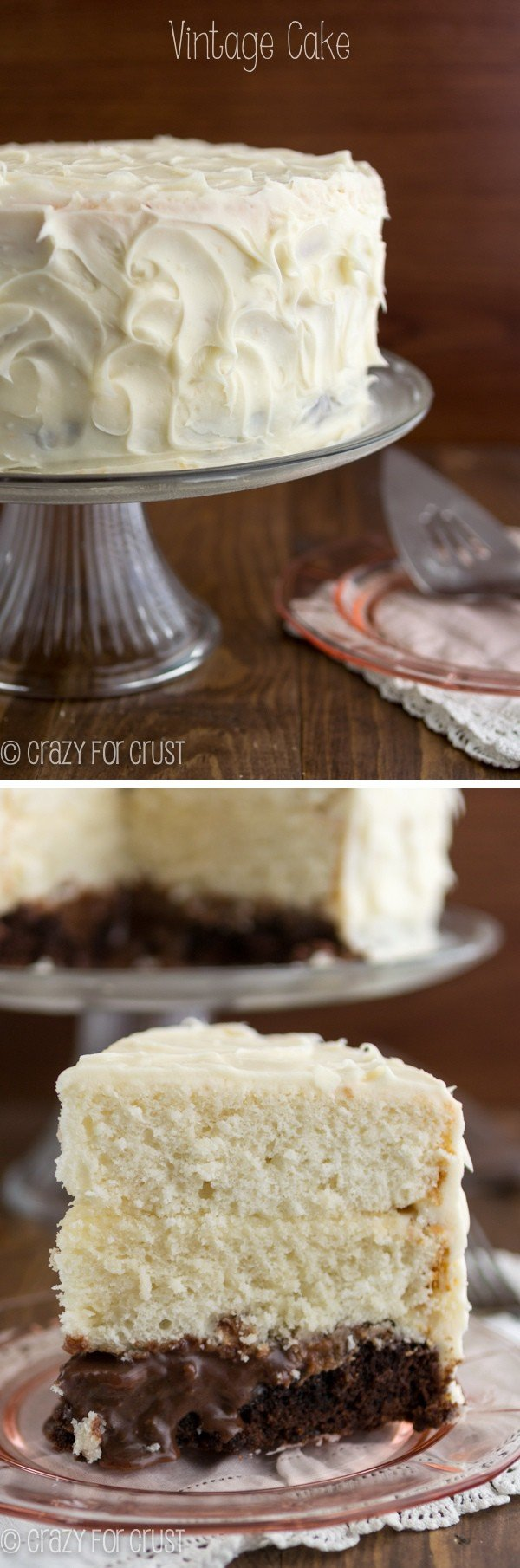 Vintage Brownie Surprise Cake {surprise-inside cakes review & giveaway}