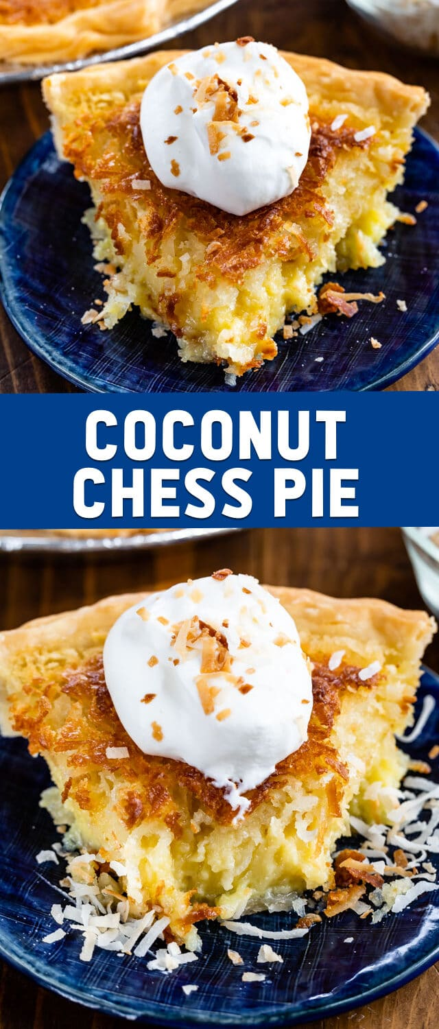 collage of coconut chess pie photos