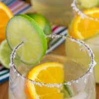 margarita sangria in a stemless wine glass with salt