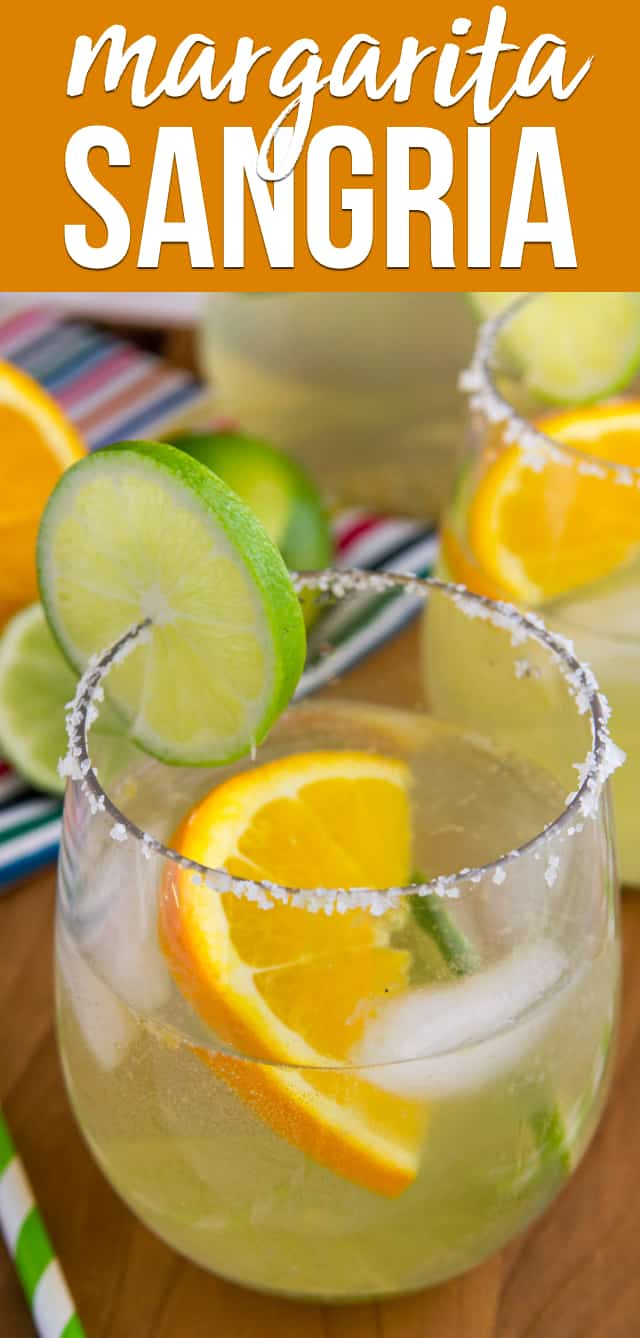 Make a white Margarita Sangria for your next party! This easy cocktail recipe is the perfect combination of a classic margarita and a delicious sangria recipe.