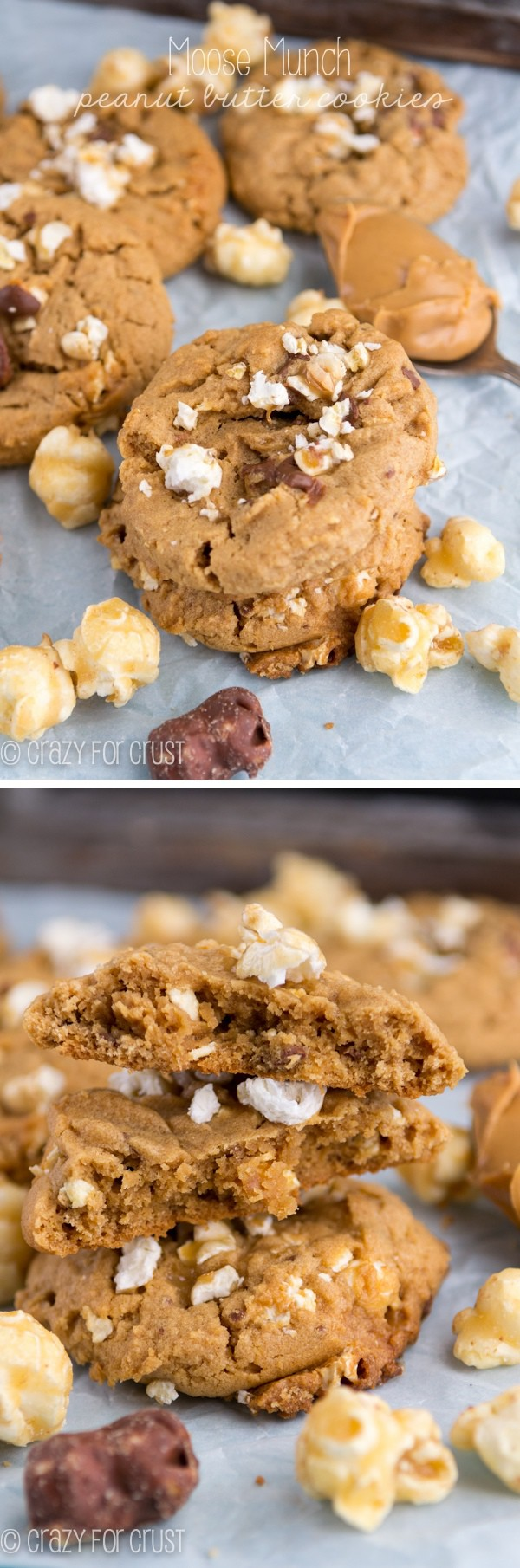 2 photo collage of Moose Munch Peanut Butter Cookies with recipe title on top