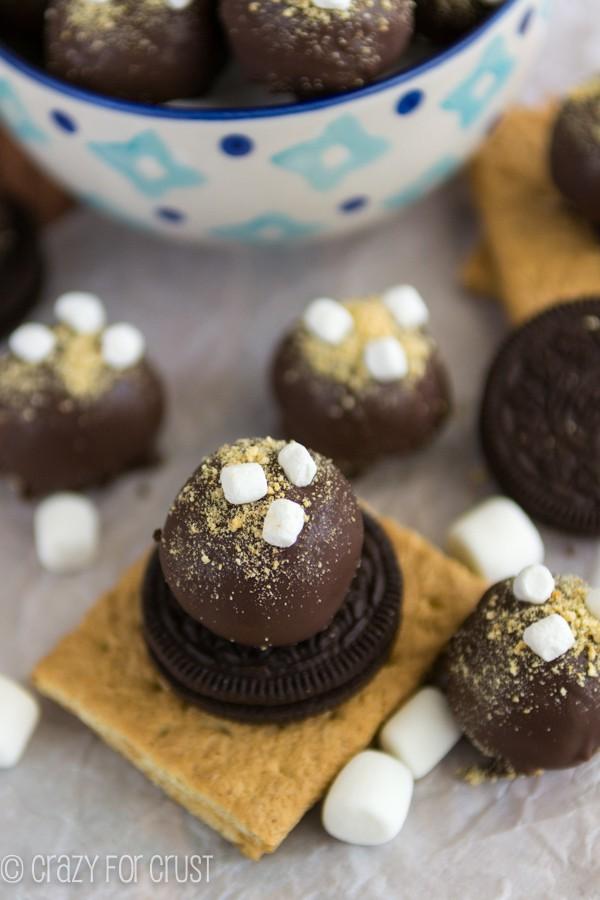 Smore Oreo Truffles - a marshmallow stuffed Oreo truffle covered with graham cracker crumbs!