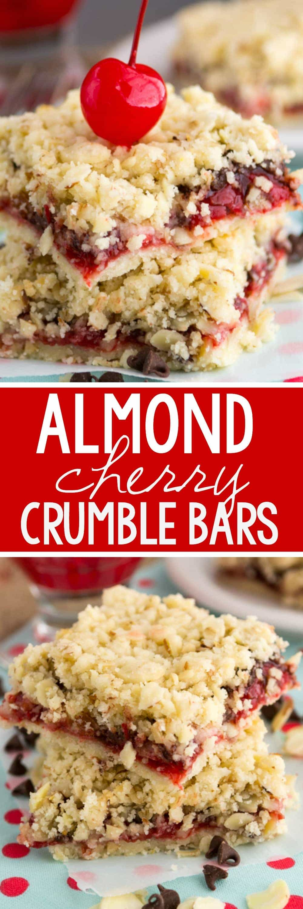 Almond Chocolate Cherry Crumble Bars collage
