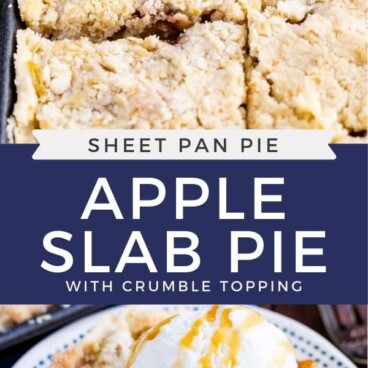 collage of pie in pan and slice on plate