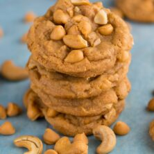 Butterscotch Pudding Cookies stacked on a blue towel