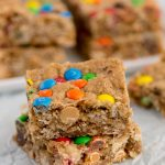 2 Loaded Oatmeal Blondies recipe stacked on top of each other