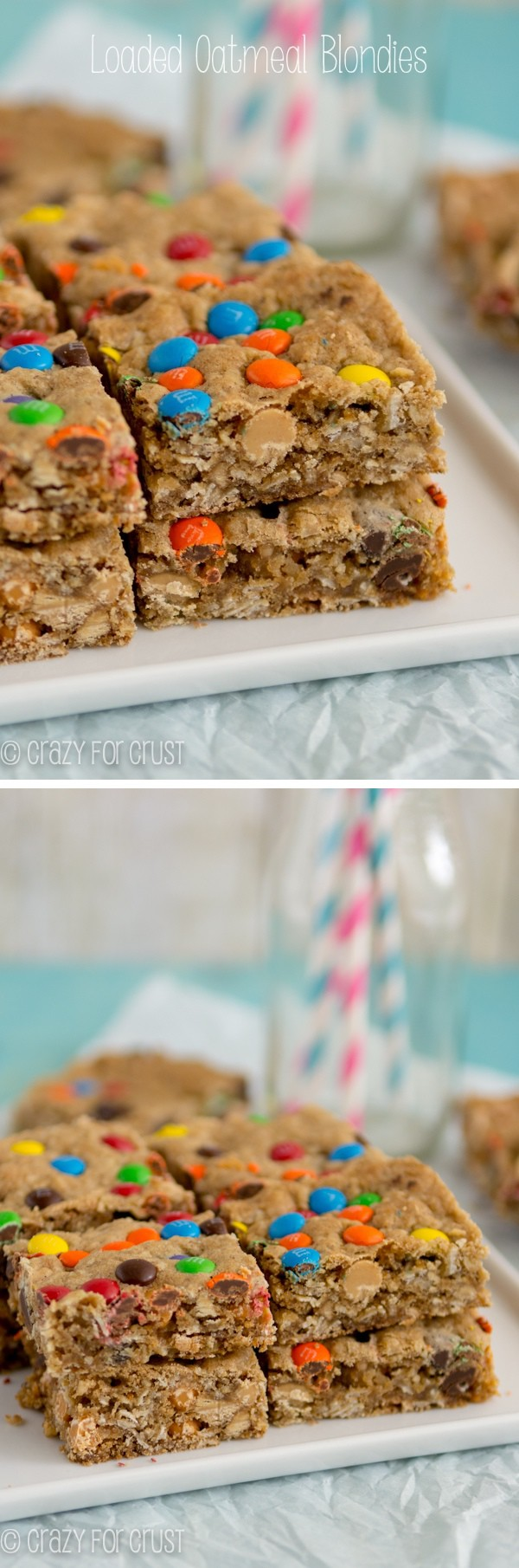 Loaded Oatmeal Blondies recipe collage