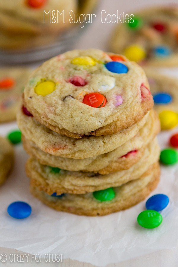 M and M sugar cookies stacked