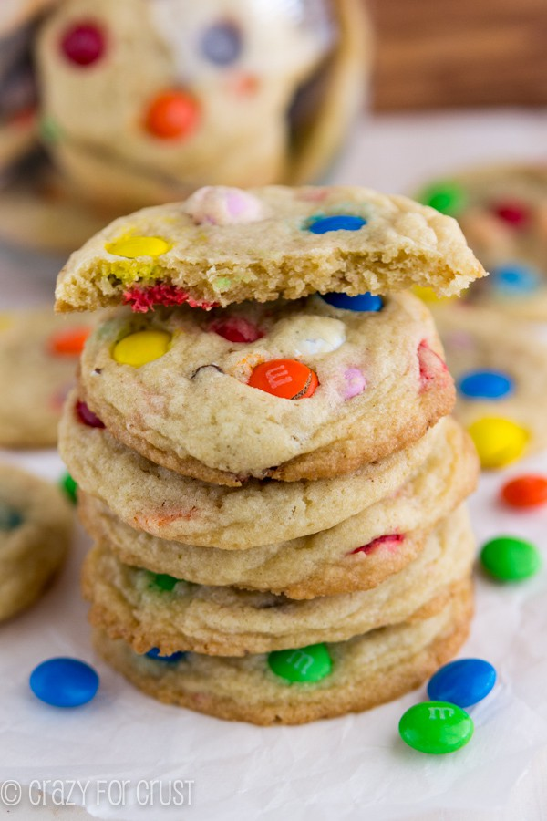 M&M Sugar Cookies with one split in half