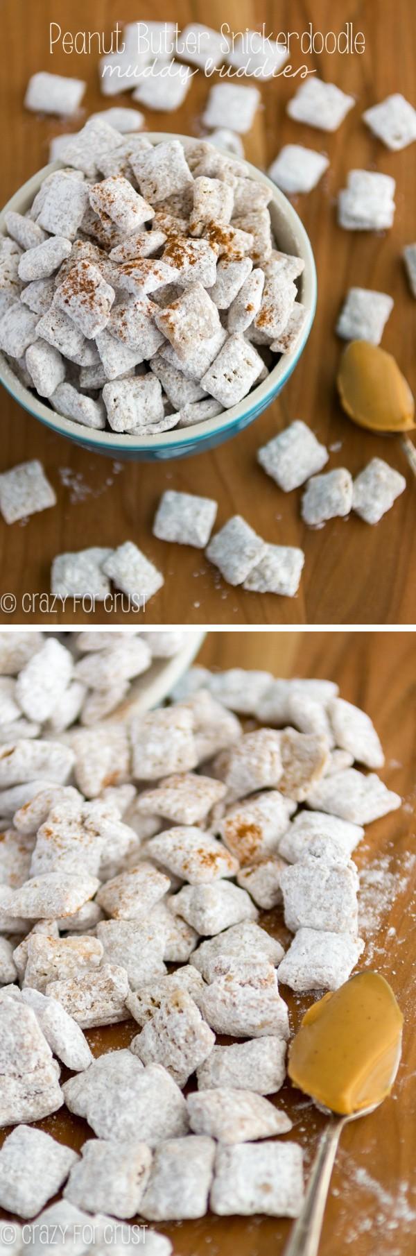 Peanut Butter Snickerdoodle Muddy Buddies collage