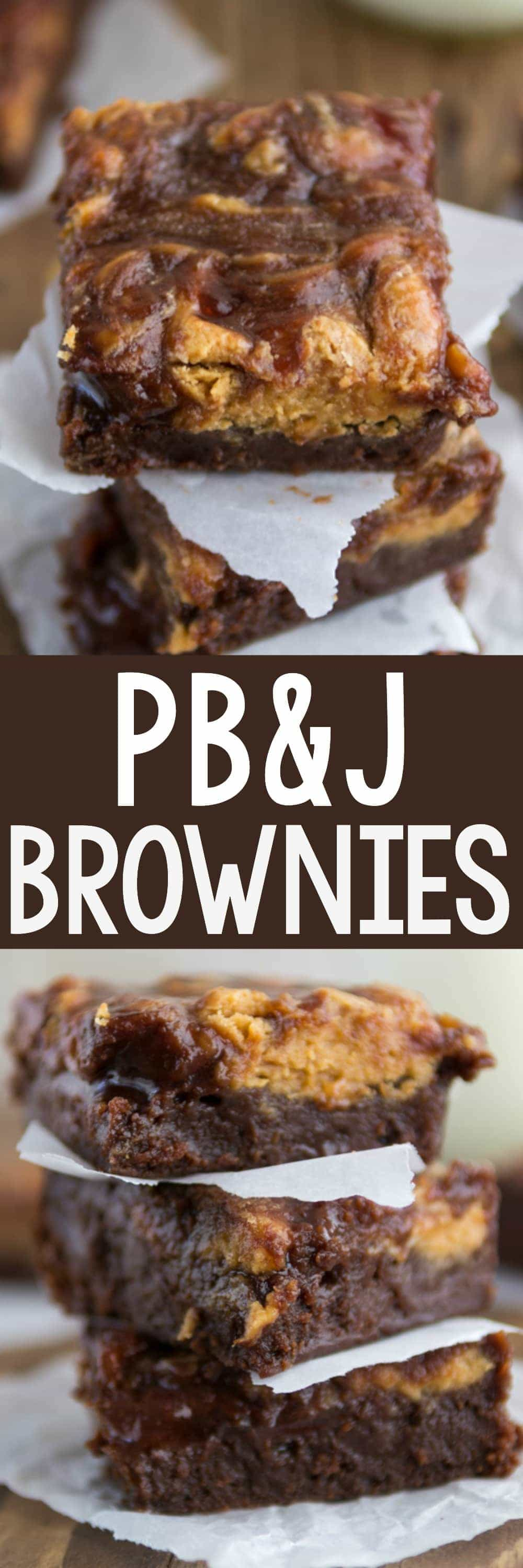 Peanut Butter and Jelly Brownies - this easy brownie recipe is full of peanut butter and jelly! PB&J goes so well with chocolate...and everyone loves brownies!