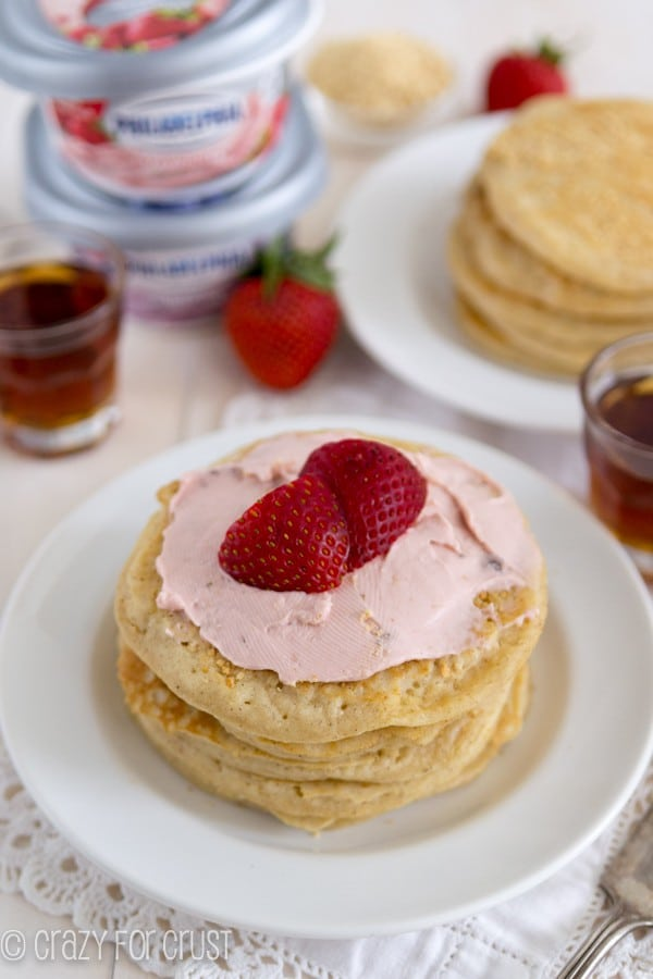 Strawberry Cheesecake Pancakes - Crazy for Crust
