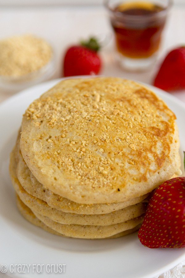 Fry pancakes with graham cracker crumbs for a crunchy crust flavor!