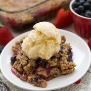 berry crisp on white plate