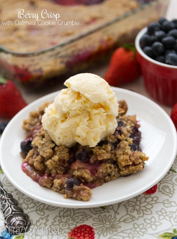 Summer treat: Berry Crisp with Oatmeal Cookie Crumble