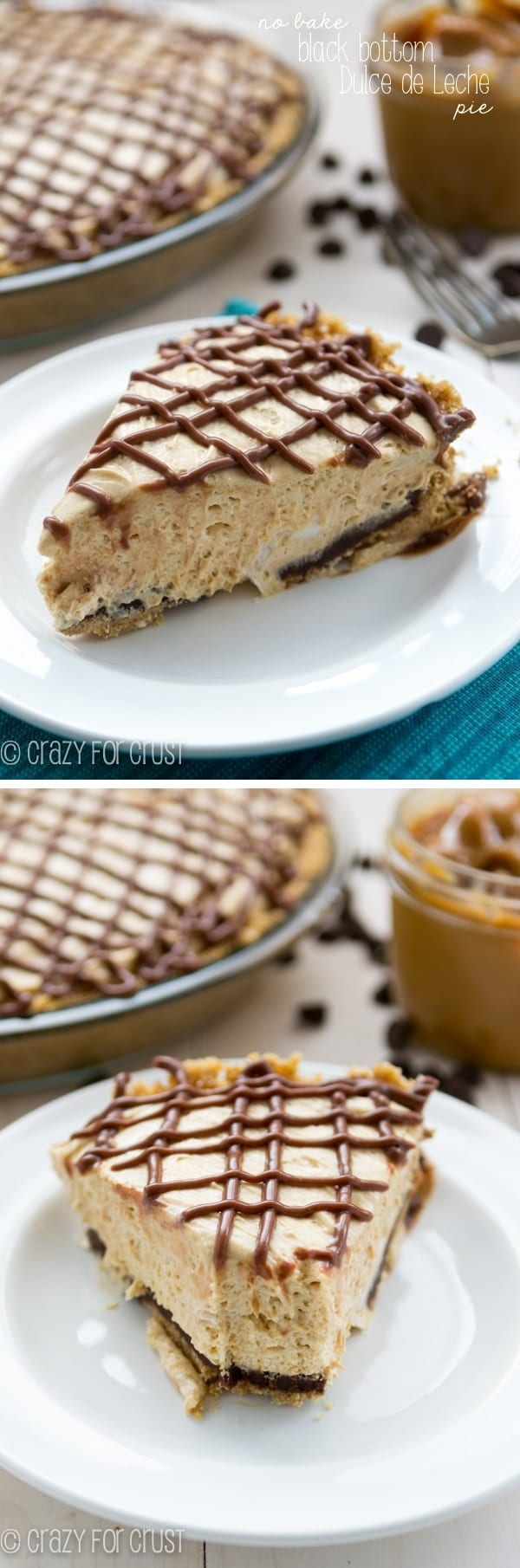 No-Bake Black Bottom Dulce de Leche Pie - the BEST summer dessert!