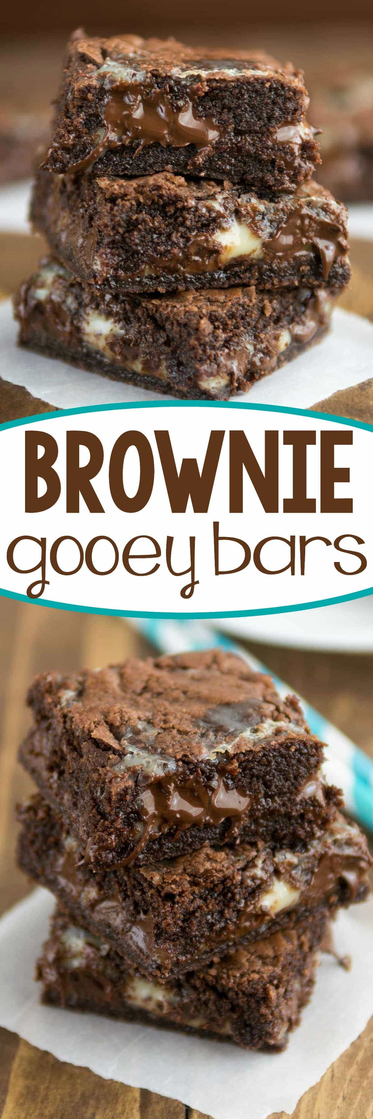 Easy Brownie Gooey Bars collage