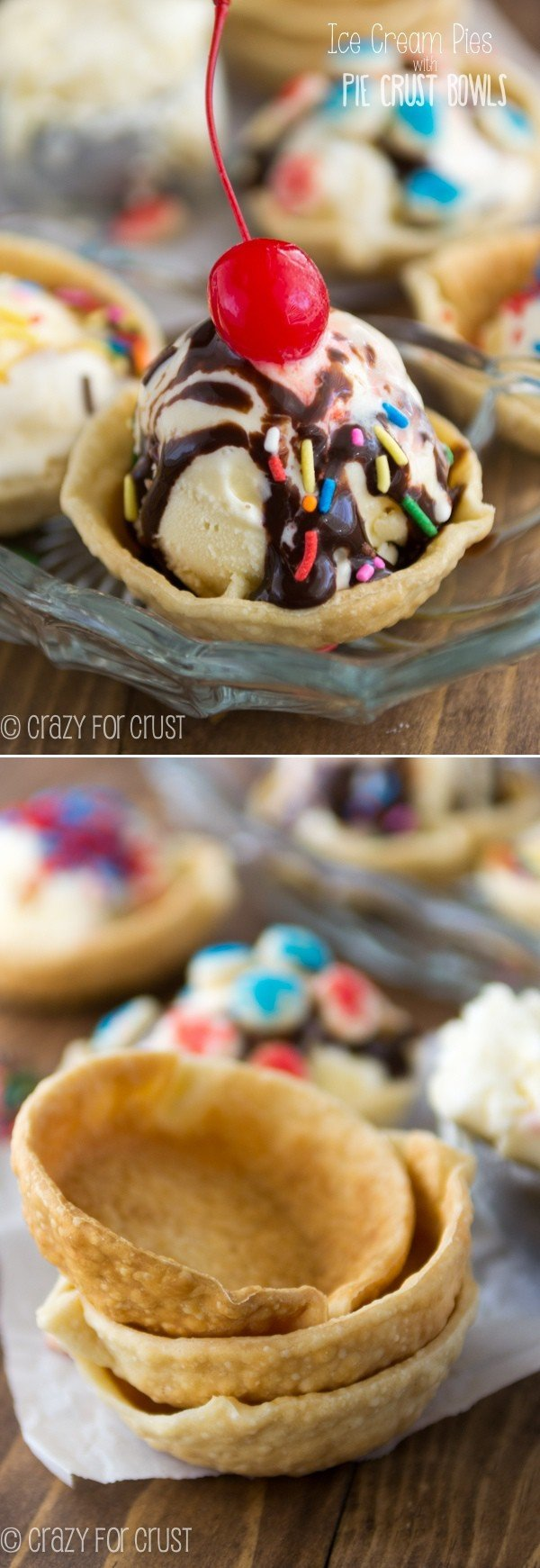 One ingredient pie crust ice cream bowls - perfect to make ice cream pie!