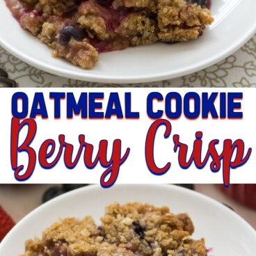 collage of berry crisp photos