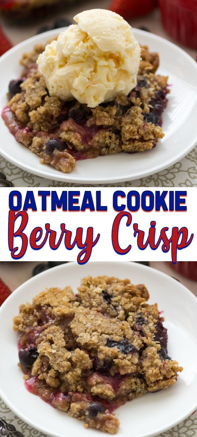 collage of berry crisp photos