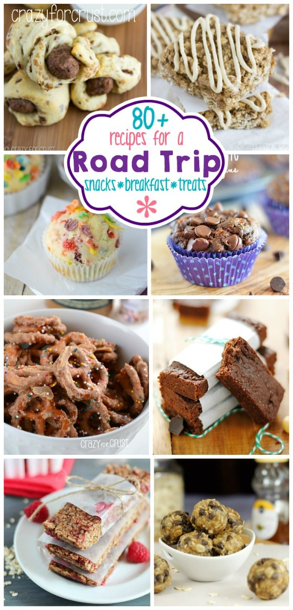 Over 80 Road Trip Snacks, Breakfast, and Treats Collage