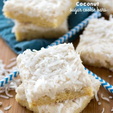 stack of coconut sugar cookie bars