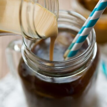 Homemade Dulce de Leche Coffee Creamer in a glass jar