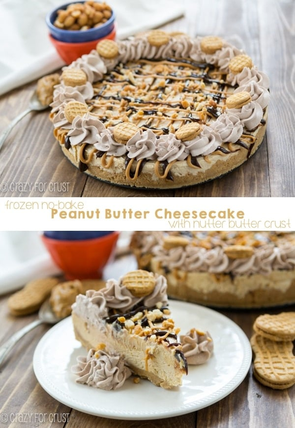 This No-Bake Frozen Peanut Butter Cheesecake has a Nutter Butter Crust!