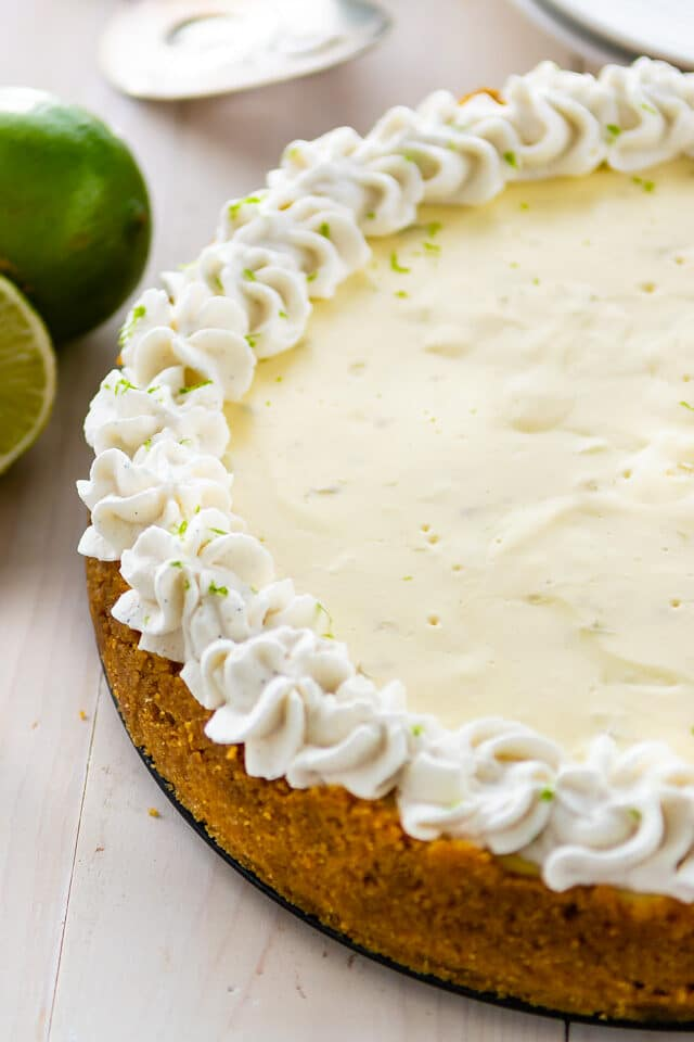 overhead shot of key lime cheesecake