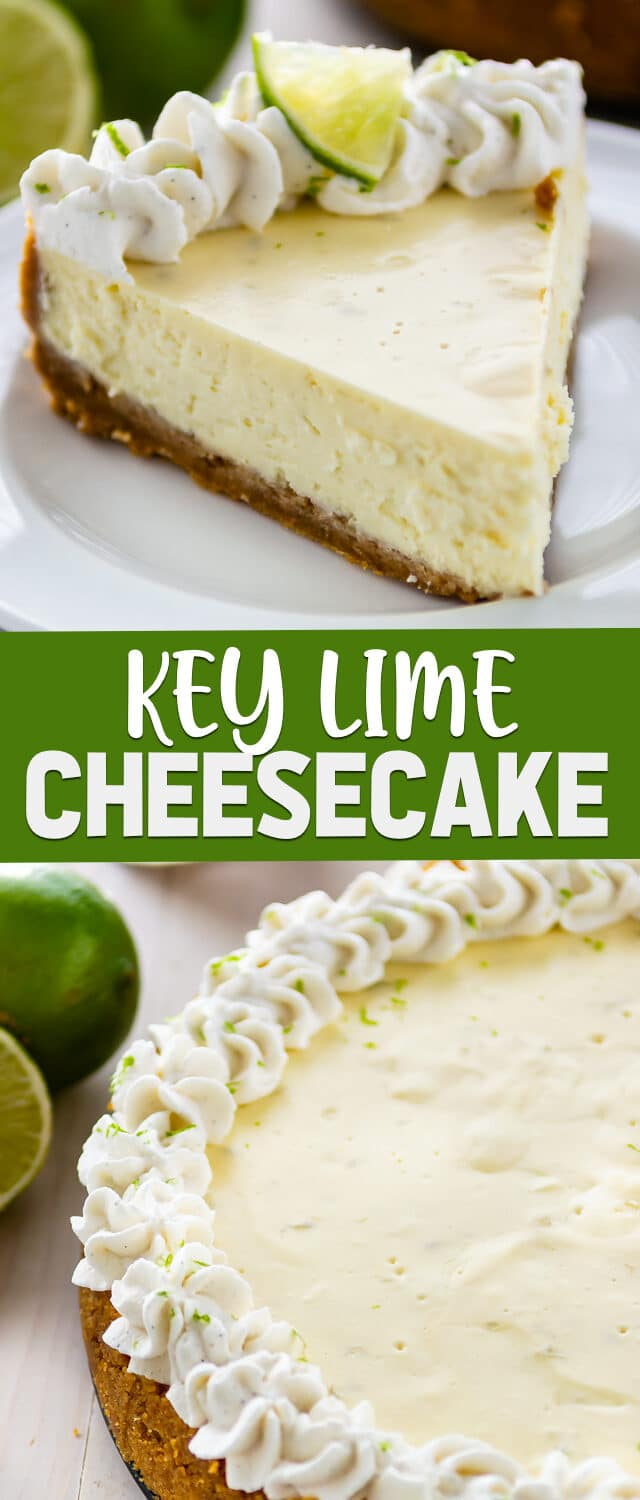 key lime cheesecake collage photos