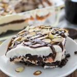 No Bake Mocha Mud Pie Dessert on a white plate