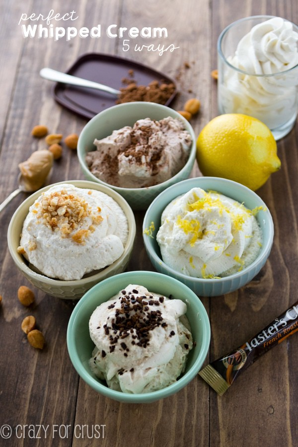 The Perfect Whipped Cream 5 ways!