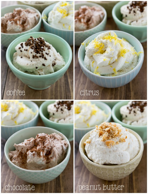 The Perfect Whipped Cream variations: coffee, citrus, chocolate, and peanut butter whipped cream