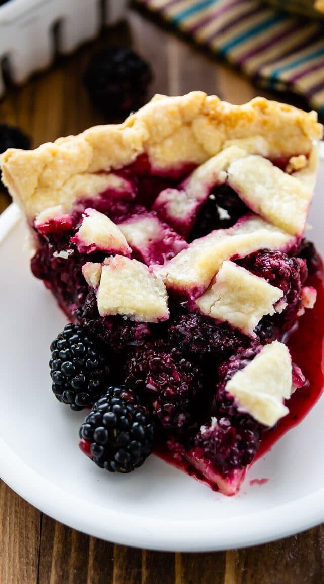 slice of blackberry pie on plate