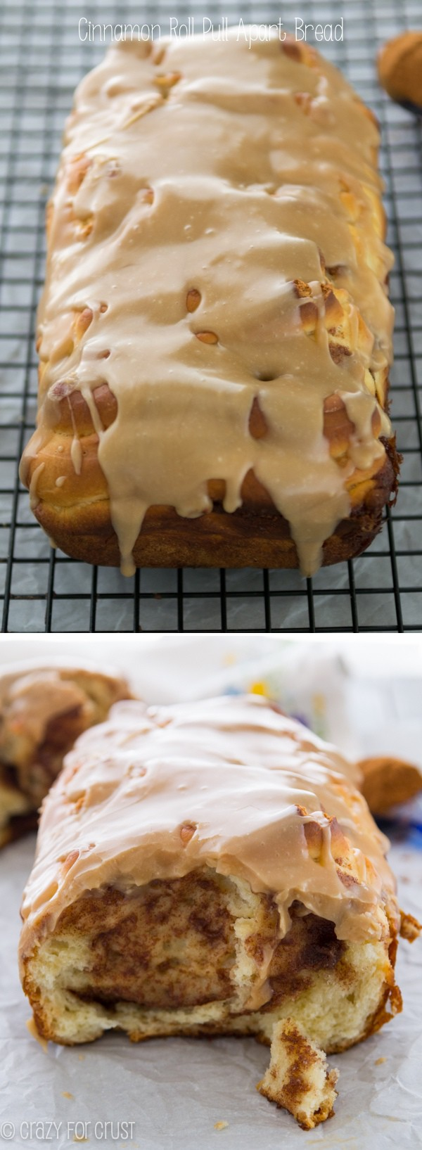 Cinnamon Roll Pull-Apart Bread - a cinnamon roll in a bread loaf!
